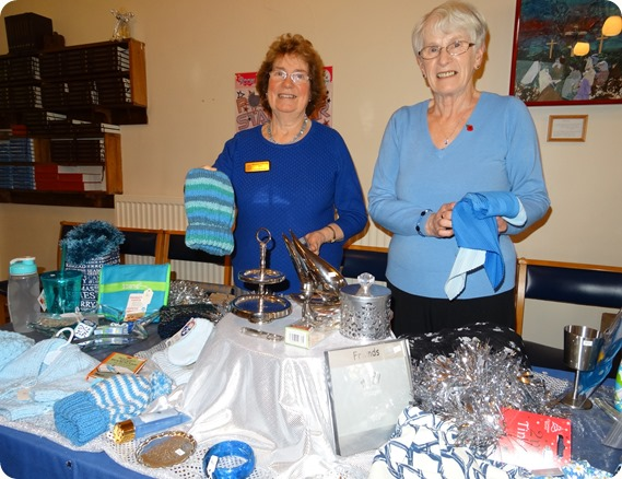 Blue and silver colour stall - l-r - Gwyneth Brown and  Sylvia Ashley