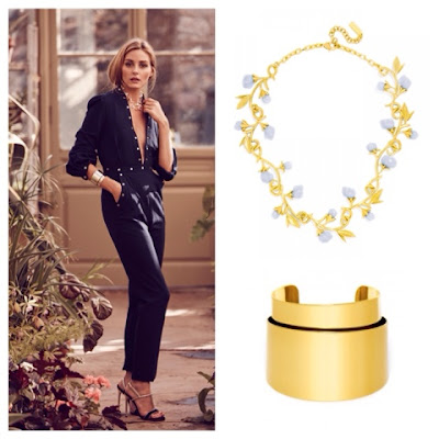 Olivia Palermo Jewelry Collection for BaubleBar Anderson Collar Necklace and Pisa Cuff Bracelet