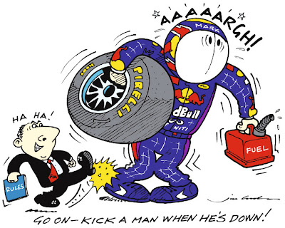 Марк Уэббер огребает по полной на Гран-при Китая 2013 - комикс Jim Bamber