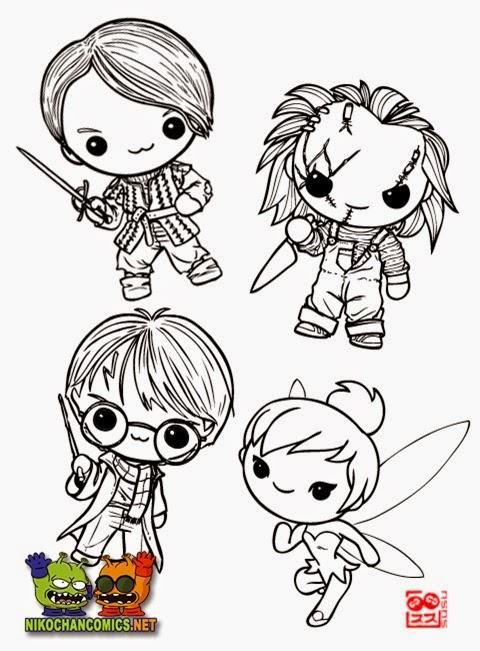 Ejemplos de diseños de distintos personajes en versión kawaii, por Susu