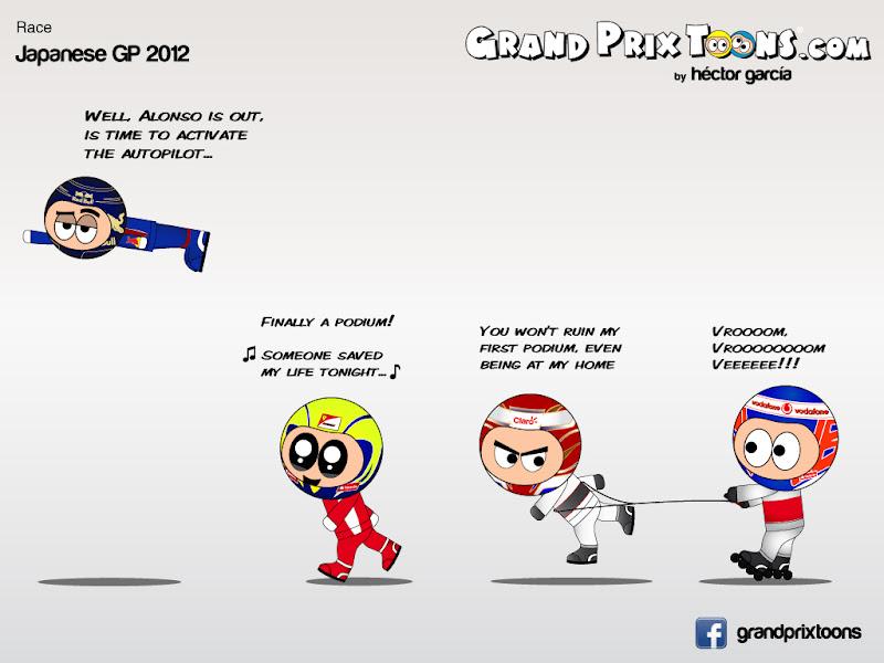 Себастьян Феттель Фелипе Масса Камуи Кобаяши Дженсон Баттон на финише Гран-при Японии 2012 - комикс Grand Prix Toons