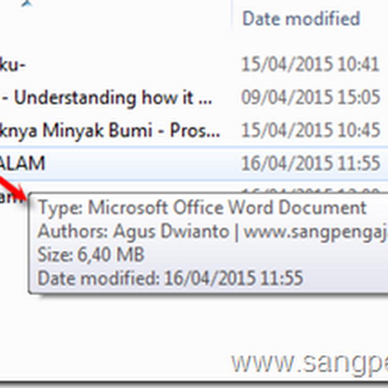 Cara Memberi Nama Author pada File Microsoft Office