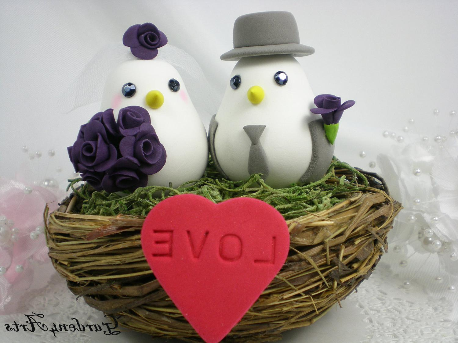 Love Birds Wedding Cake Topper with Sweet Floral Nest Choice Color