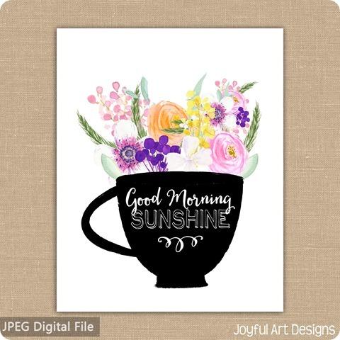 ETSy Listing Coffee Flowers Sunshine 8x10