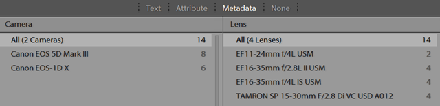 Lightroom Metadata Filtering in Library Grid Mode