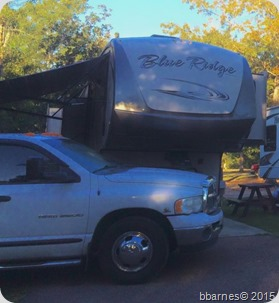 Indian Point RV Resort rig with dog 10142015