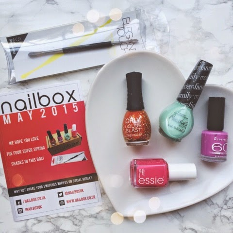 beauty-blog-nail-art-midweek-manicure-monday-manicure-nailbox-beauty-subscription-box-polishaholic-mint-green-nails-pink-nails-orange-nails-purple-nails-glitter-nails-orly-colour-blast-fiery-orange-nicole-by-opi-alex-by-the-brooks-rimmel-lucky-lilac-essie-status-symbol-elegant-touch-nail-polish