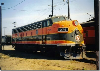 12 Great Northern F7A #274 at the Brooklyn Roundhouse in Portland, Oregon on August 25, 2002