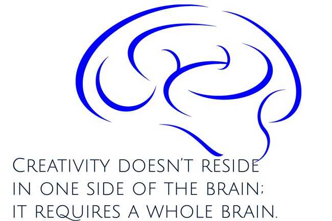 creativity doesn't reside in one side of the brain