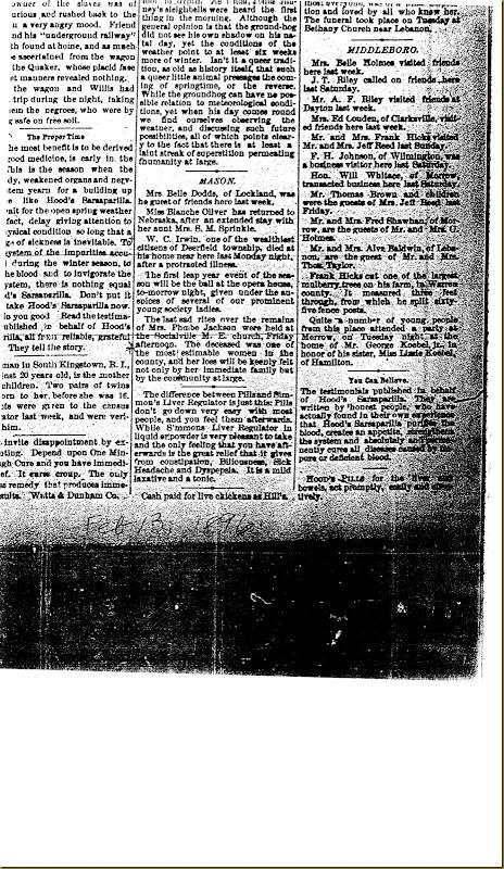 William Cox Irwin obituary 13 Feb 1896
