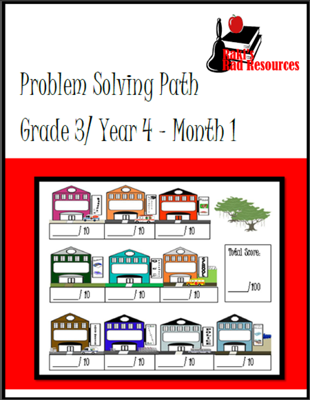 Free download - 3rd Grade month long journal for problem solving path, real life probelm solving for real life kids. From Raki's Rad Resources.
