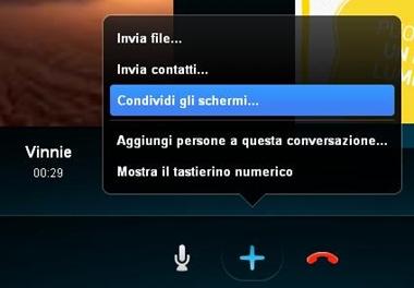 Skype condividere lo schermo