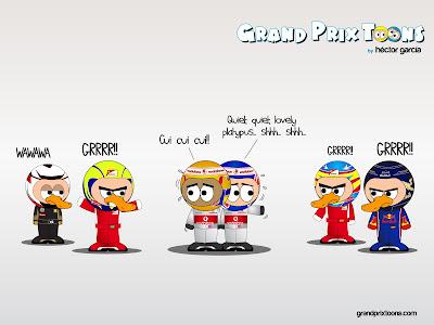 Льюис Хэмилтон и Дженсон Баттон в окружении утконосов сезона 2012 - комикс Grand Prix Toons