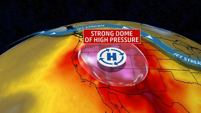 The upper-atmospheric setup for the U.S. Northwest heat wave week of 5 July 2015. A strong dome of high pressure means continued record heat wave. Graphic: The Weather Channel