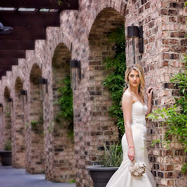Bella Sposa by Sabrina Causey - Wedding Bride ( bella, white wedding, sposa, arch, brick, wedding, white, gown, architecture, tusan, bride, best female portraiture )