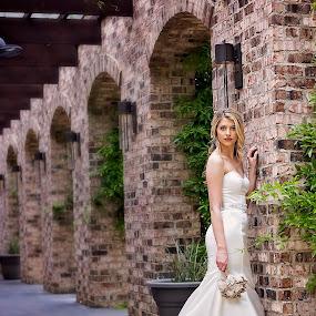 Bella Sposa by Sabrina Causey - Wedding Bride ( bella, white wedding, sposa, arch, brick, wedding, white, gown, architecture, tusan, bride, best female portraiture,  )