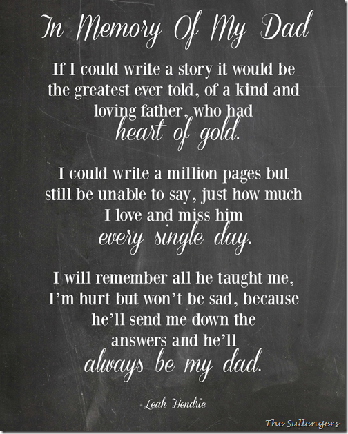 Leah Hendrie Poem In memory of my dad