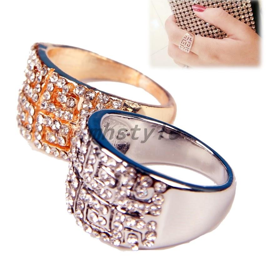 damen mode ring diamant kristall silber rose gold hit zeigefinger ring neu ebay. Black Bedroom Furniture Sets. Home Design Ideas