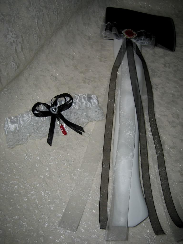Fireman Firefighter Wedding White Axe and Satin and Lace Garter 2 Piece Set