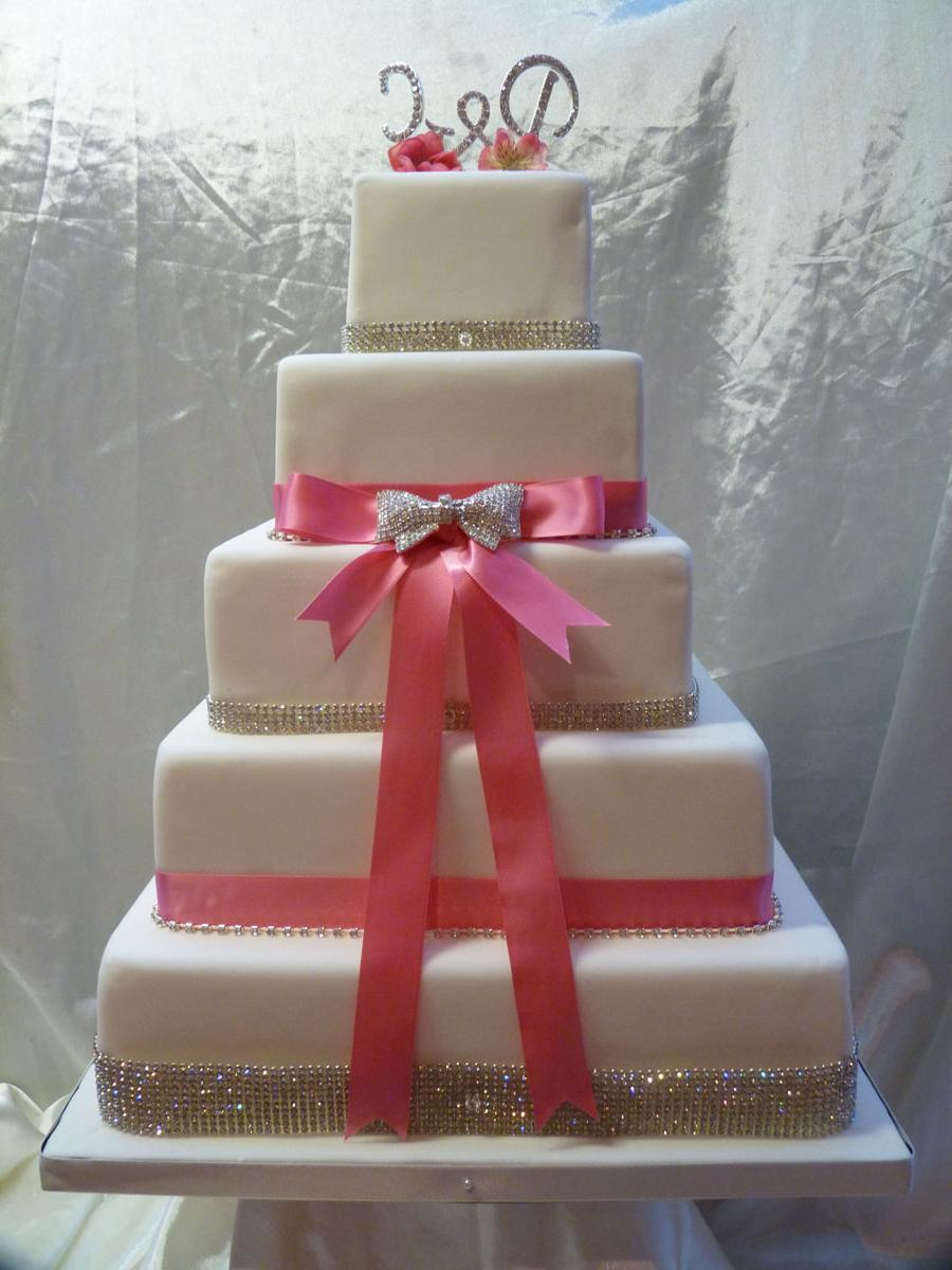 Pinky Bling Wedding Cake