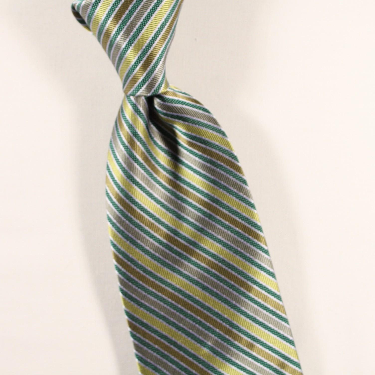 Teal and gold striped tie with