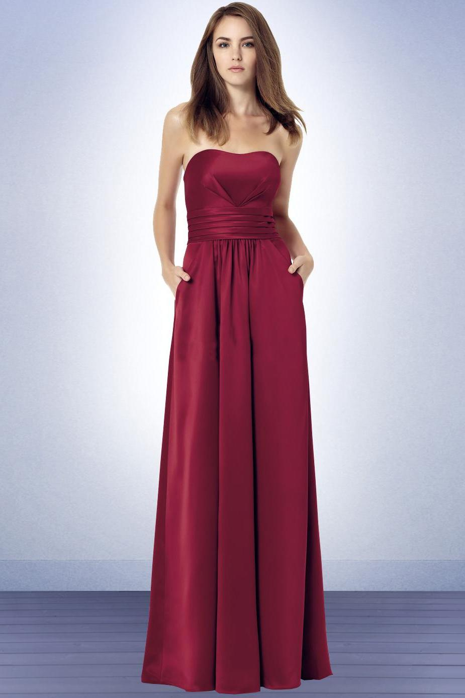 Long Strapless Red Wine
