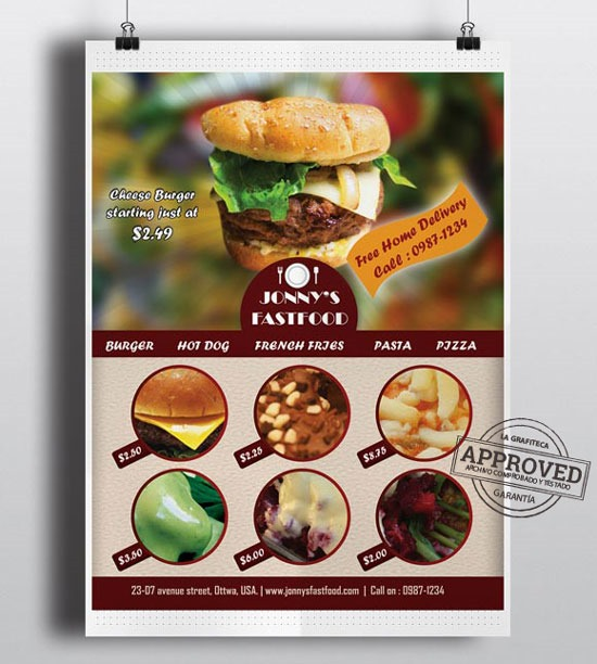 Cartel-flyer-menu de restaurante.