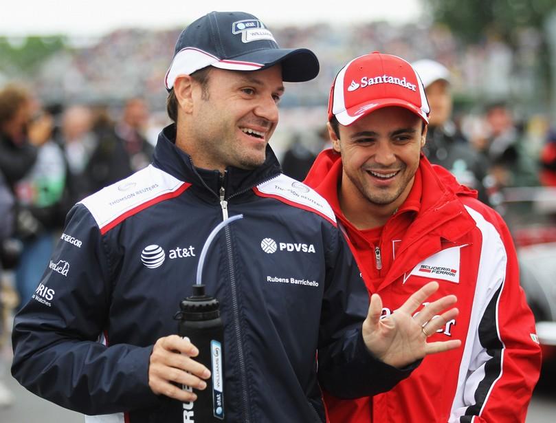 Рубенс Баррикелло и Фелипе Масса на параде пилотов Гран-при Канады 2011
