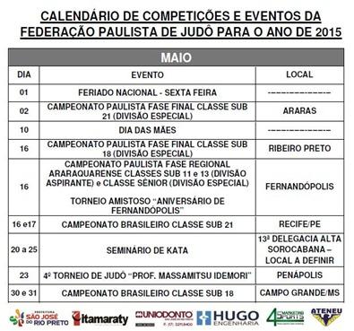 Ano 2015 - Calendario Evento de Judo - Maio