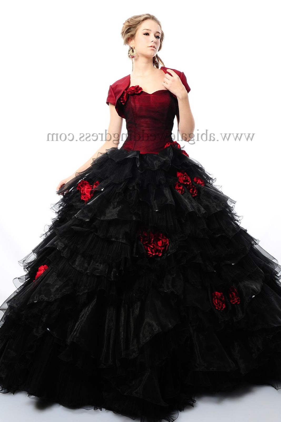 Red Bodice Black Layered Skirt