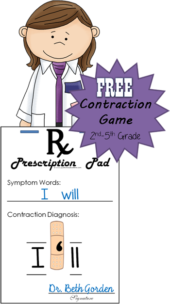 FREE Band Aid Contraction Game - this is such a fun educational game to help 2nd grade, 3rd grade, 4th grade, and 5th grade students practice contractions. Perfect for centers, homeschool, extra practice at home or for summer learning language arts.