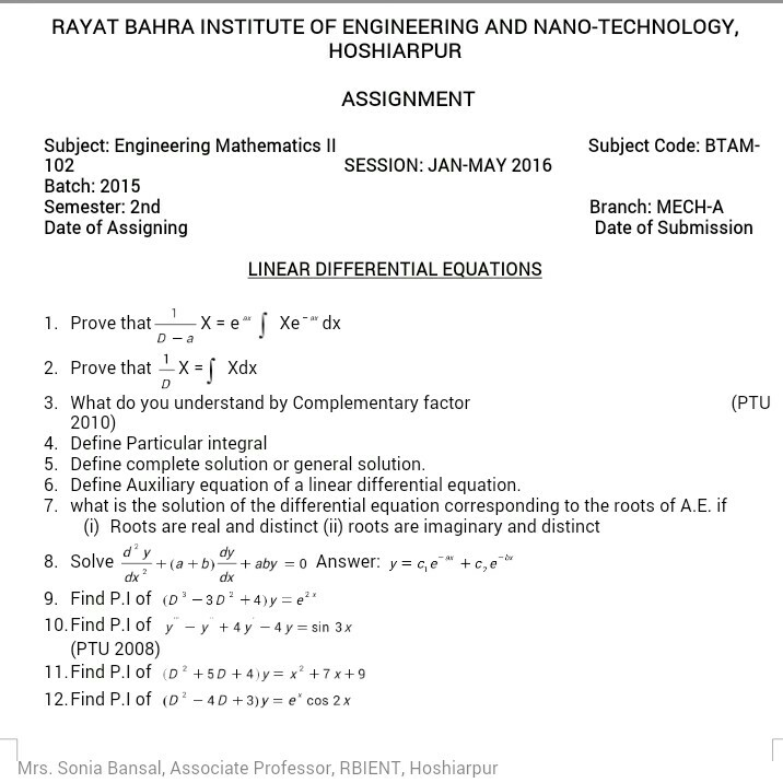 Mathematics study material engineeing iit jee main advanced assignment 2engg mathematics 2 btam 102 malvernweather Image collections