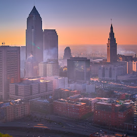 Cleveland up high by Tom Baker - City,  Street & Park  Skylines ( downtown cleveland, key bank building, aeriel, 2010, tower city, photography, cleveland )