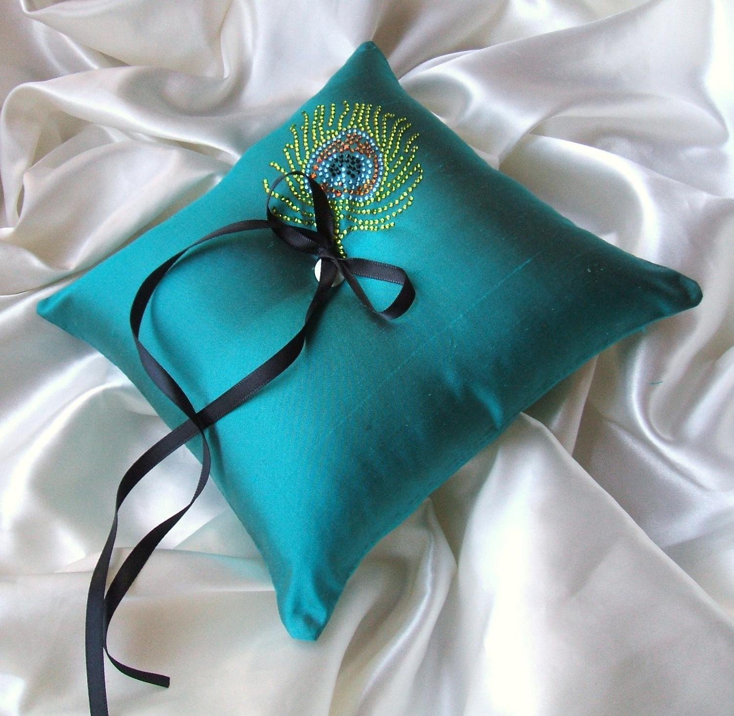Dupioni Silk Ring Bearer Pillow with Rhinestone Encrested Feather.