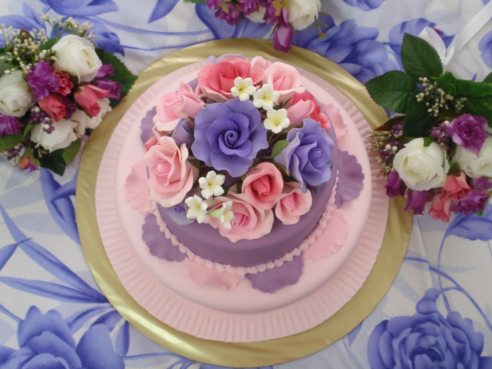 purple fondant 2-tier wedding