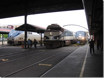 IMG_0736 Amtrak Cascades NPCU #90250 & Amtrak P42DCs #73 & #95 at Union Station in Portland, Oregon on May 10, 2008