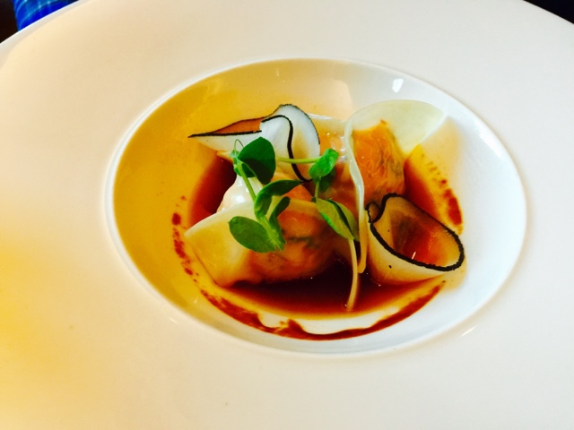 Dumplings with lobster, tiger prawns and salmon at Maze by Gordon Ramsay