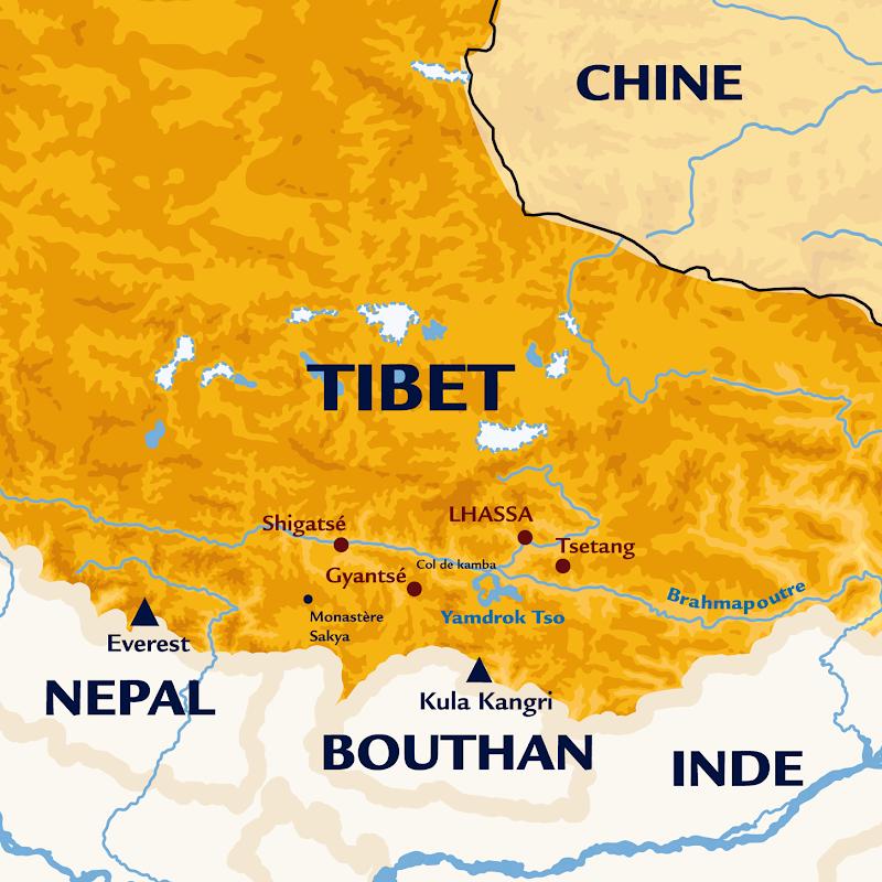 Continents Insolites carte TIBET