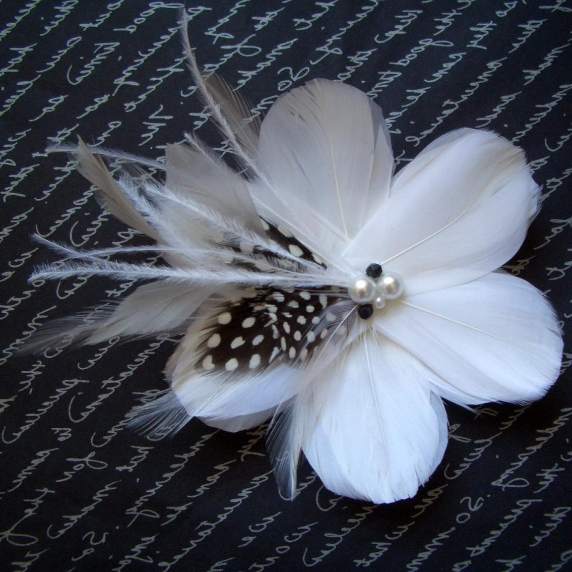 BLACK AND WHITE - Bridal Flower with Black White and Shades of Grey