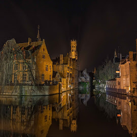 Bruges by Jon Jones - City,  Street & Park  Vistas ( water, bruges, night, belgium, canal, nightscape, city )