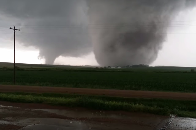 The twin terrors of the June 16, 2014 tornadoes near Pilger and Wisner, Nebraska were captured on video. (YouTube / Timothy Klaustermeier)