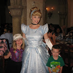 Hannah, Bryan and Cinderella at the Akershus restaurant for lunch in Norway in Epcot 06072011a