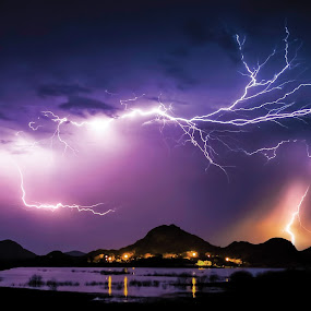Lightning Panorama by Glenn Patterson - Landscapes Weather ( water, lightning storm, reflection, sky, mountain, thunderstorm, colorful, lake, panorama )