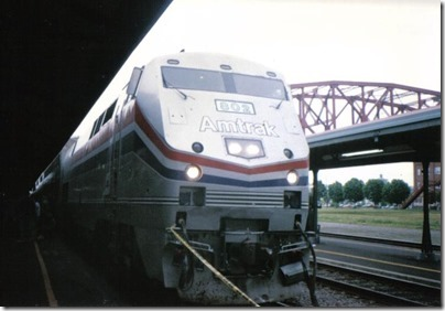 Amtrak P40DC #802 at Union Station in Portland, Oregon on May 11, 1996