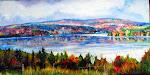 Le lac Mégantic vu du cinéma, acrylique, 12 x 24po.