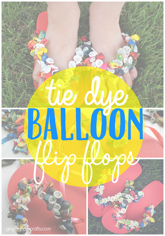 tie dye balloon flip flops at GingerSnapCrafts.com #crafts #kids #kidscraft