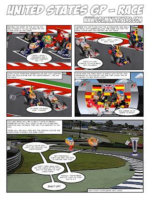 комикс Los MiniDrivers по гонке на Гран-при США 2012