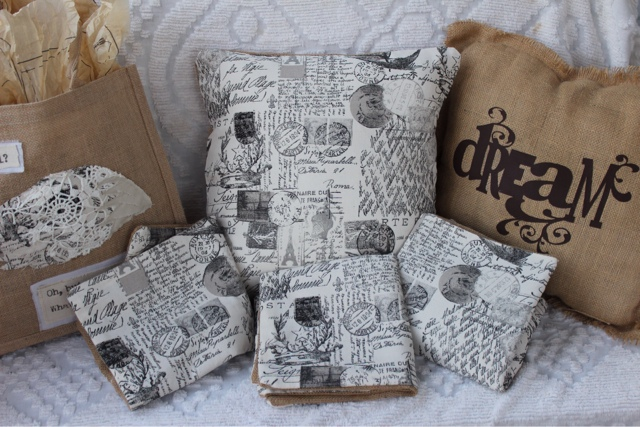 Letters from Paris old script pillows