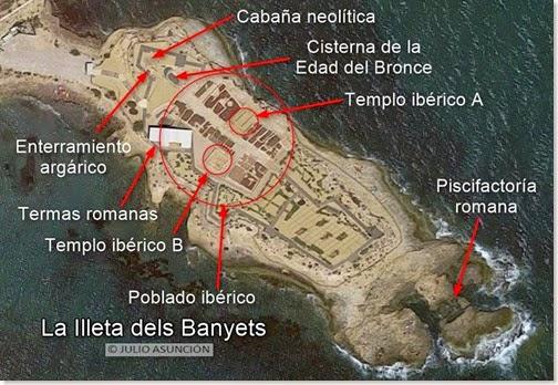 Plano-mapa de la Illeta dels Banyets - El Campello