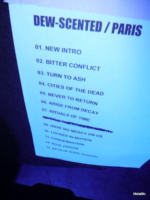 Dew-Scented : set-list @ Le Trabendo, Paris 07/05/2010